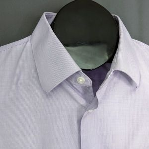 Enro Dress Shirt Long Sleeve 80s 2 Ply White Striped Button Down Sz 16.5 34-35